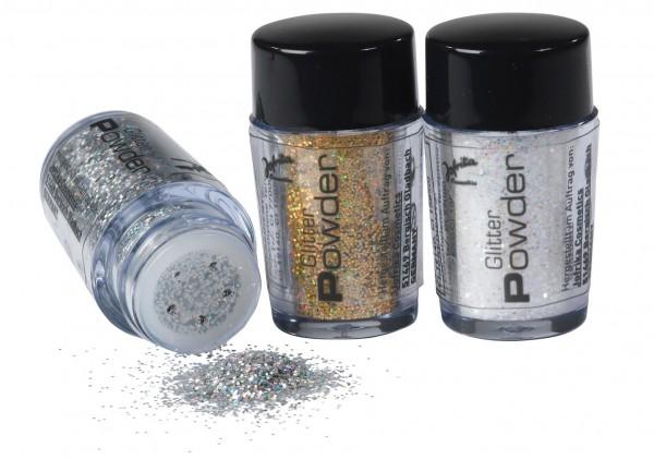 Maquillaje en polvo con purpurina