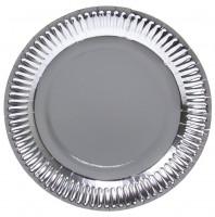 8 Silber Metallic Teller 23cm