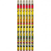 6 Smiley Bleistifte mit Radiergummi