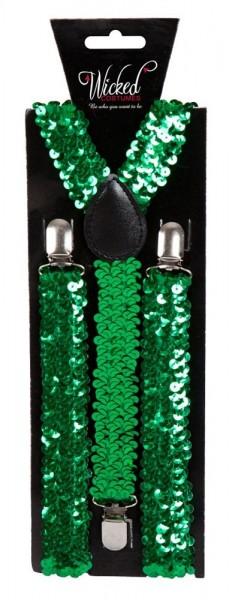 Grüne Pailletten Hosenträger