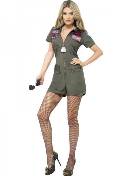 Sexy Flieger Kostüm Für Damen Olive 1