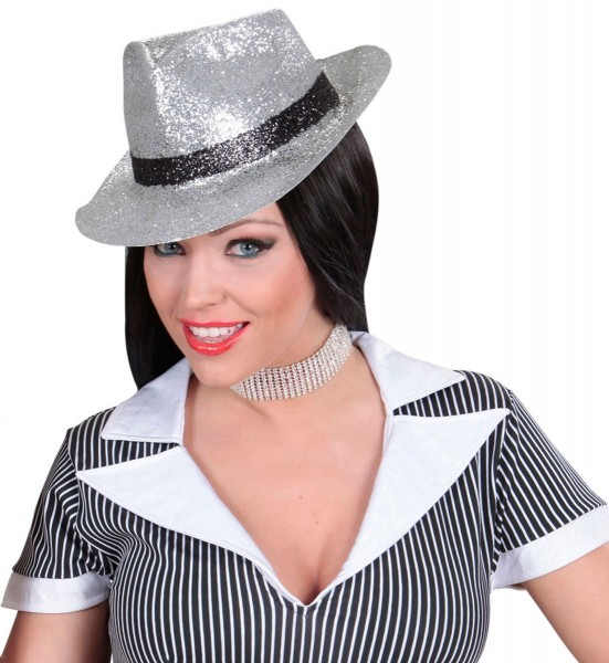 Brokatowy kapelusz gangsterski srebrny