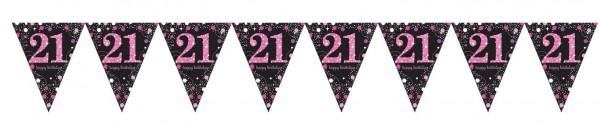 Pink Sparkling 21st Birthday Wimpelkette 3,96m 2