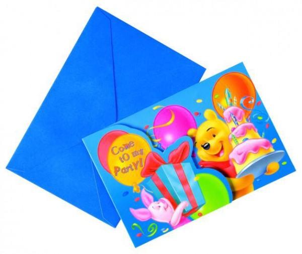 6 Birthday Winnie Puuh Einladungskarten