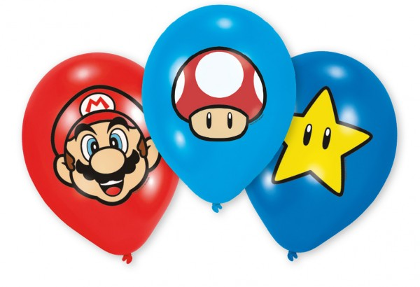 6 Super Mario Items Balloons 27.5cm