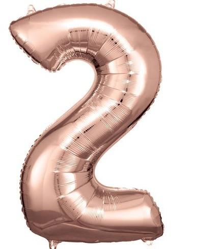 Palloncino numero 2 oro rosa 86 cm