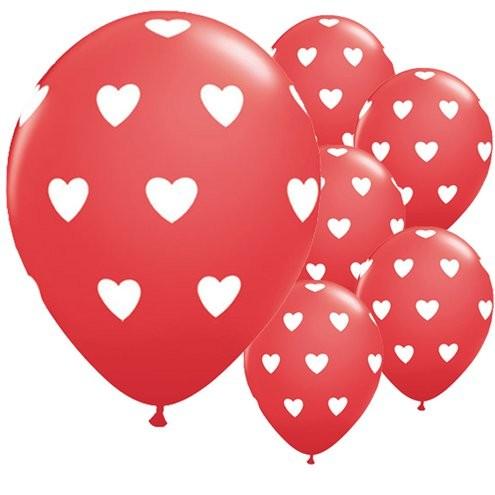 6 hartjes patroon ballonnen 28cm