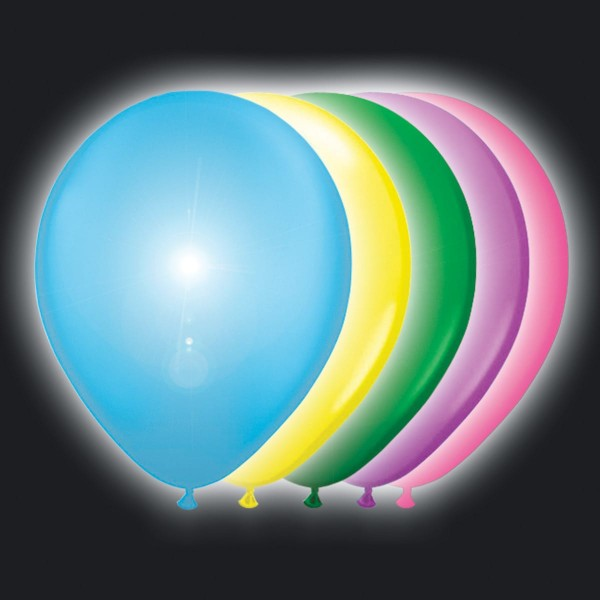5 colorful LED balloons party 25cm