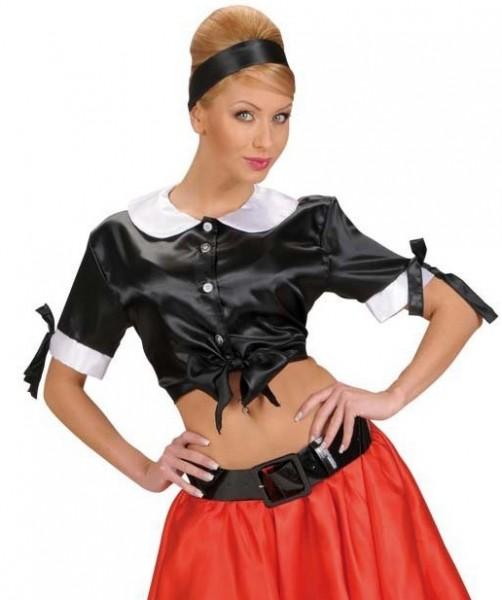 Czarująca satynowa bluzka damska w kolorze czarnym