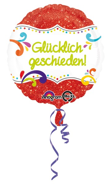 Folienballon Glücklich geschieden Glitzer rot