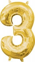 Mini Folienballon Zahl 3 gold 35cm