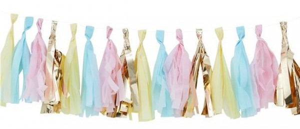 Colorful pastel and gold tassel garland 2m