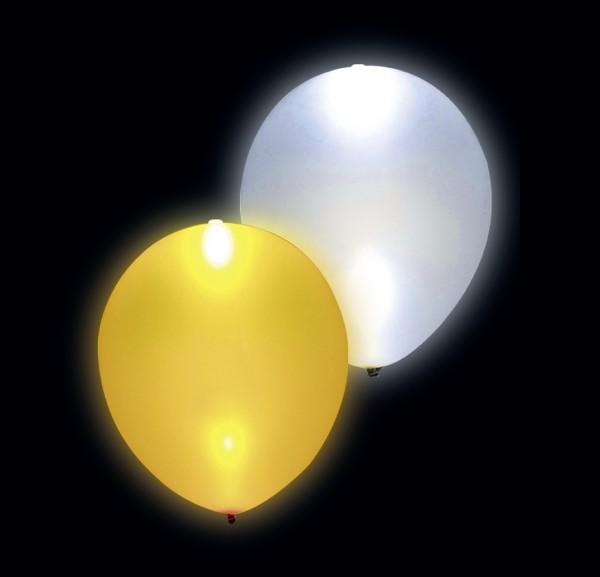 5 LED balloons glamor silver gold 23cm