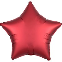Edler Satin Sternballon rubinrot 43cm