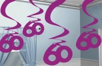 60th Celebration Wirbel Hängedekoration Pink 5x61cm