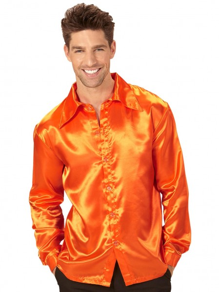 Chemise Johnny Orange aspect soie