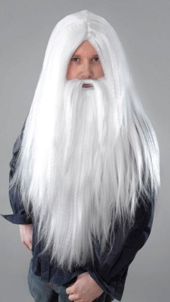 Zauberer Perücke mit Bart Weiß