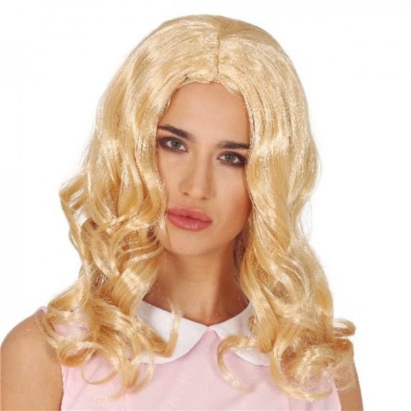 Blond krøllet paryk Sally