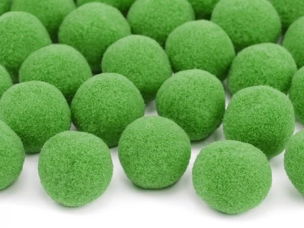 20 mini pompones esparcidos en verde