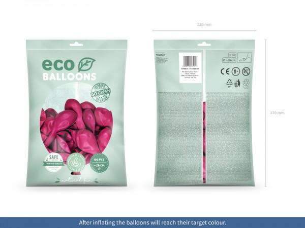 100 eko metalicznych balonów różowych 26cm