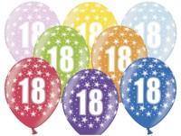 6 Bright 18th Birthday Luftballons 30cm
