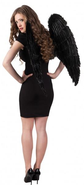 Teuflische Halloween Federflügel Schwarz