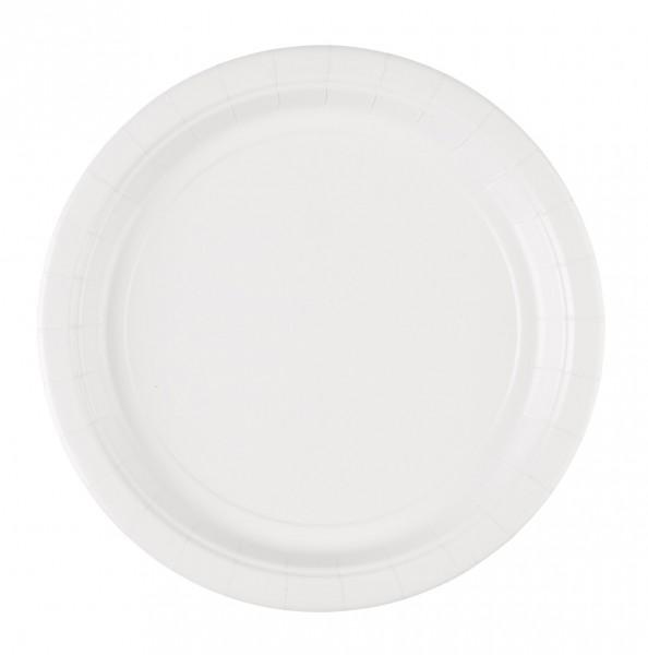 8 assiettes en carton Mila blanc 22.8cm