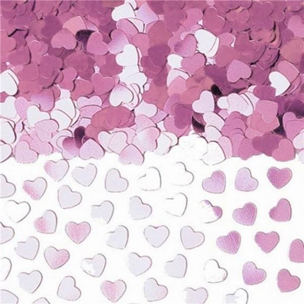 Pink Metallic Heart Confetti 14g
