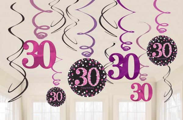 12 Pink 30th Birthday Spiralhänger 60cm