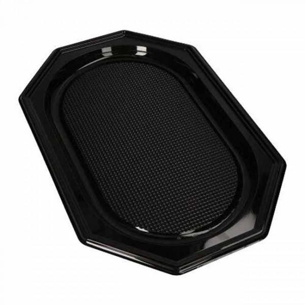 10 platos para servir PET cuadrados negros 45cm x 30cm