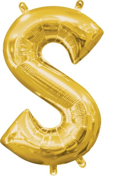 Mini foil balloon letter S gold 35cm