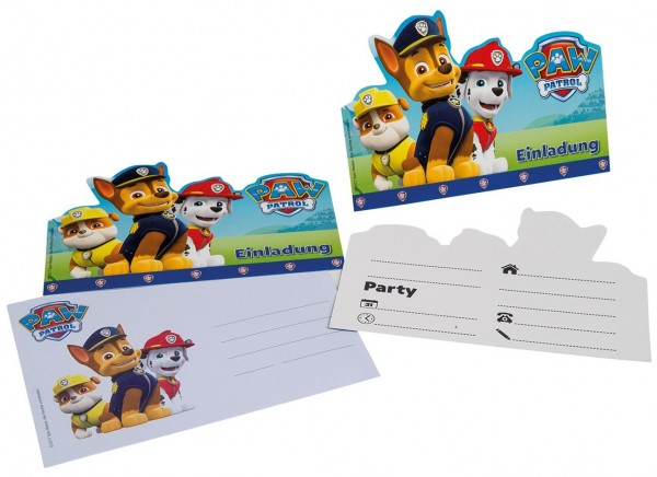 6 invitations Paw Patrol Friends Chase avec enveloppe