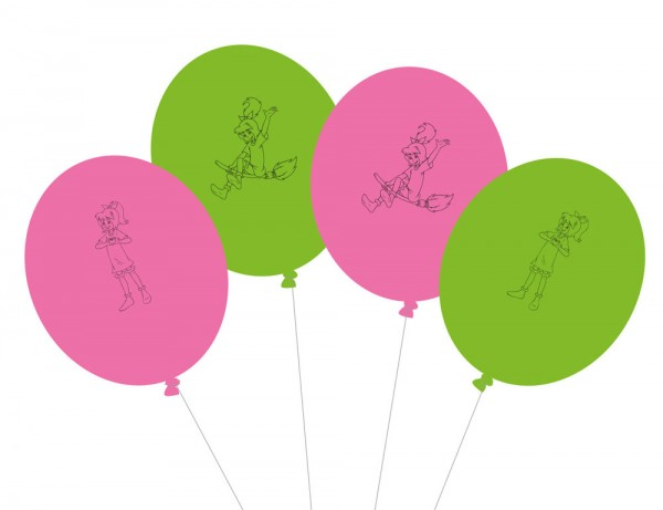 8 Bibi Blocksberg Latexballons grün-pink