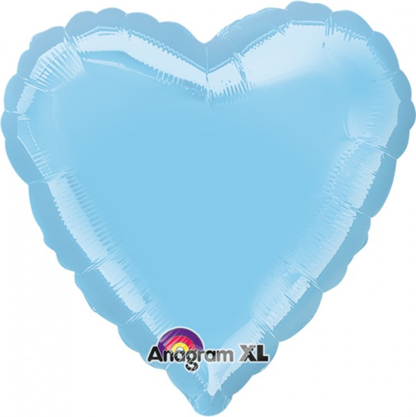 Himmelblauer Herzballon 43cm 1