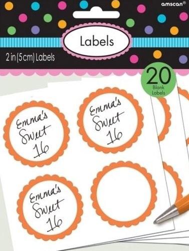 20 etykiet w formie bufetu z pomarańczową obwódką
