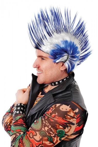 Blauw-witte Punk Iroquois-pruik