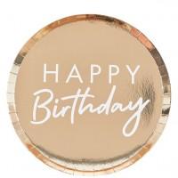 8 Goldene Happy Birthday Teller 24cm