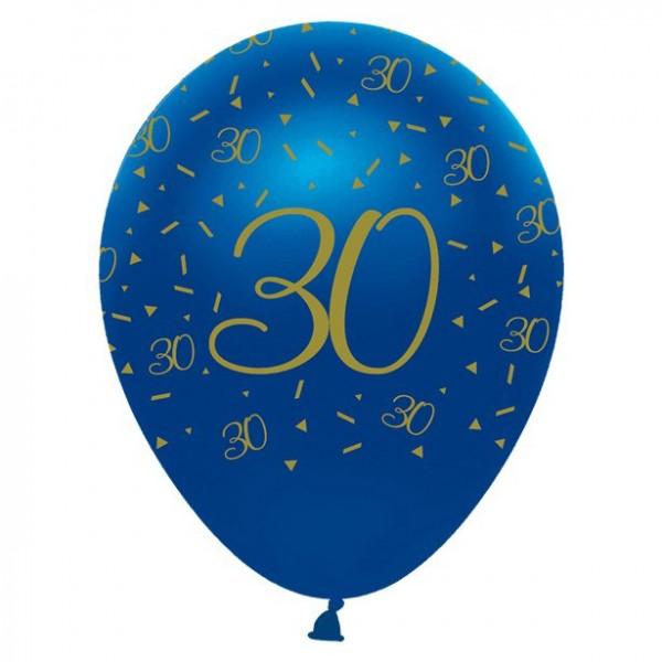 6 Latexballons 30. Geburtstag blau 30cm