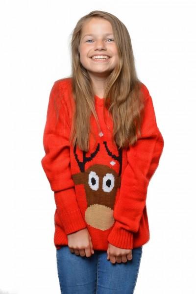 Red reindeer children's sweater