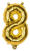 Folienballon Zahl 8 gold metallic 36cm