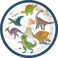 8 Happy Dinosaur Partyteller 18cm
