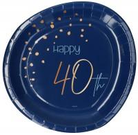 40. Geburtstag 8 Pappteller Elegant blue