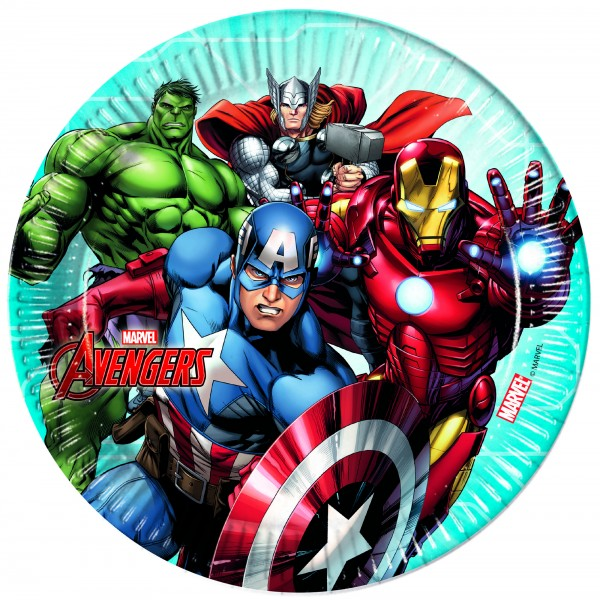 8 Avengers Heroes paper plates 23cm