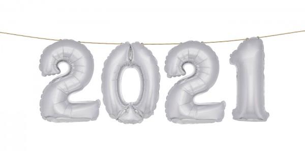 Folienballon Set 2021 in Silber