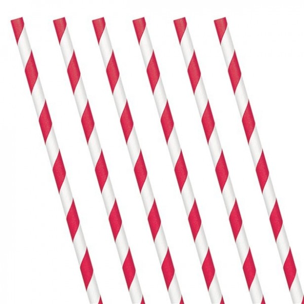 24 red and white striped paper straws