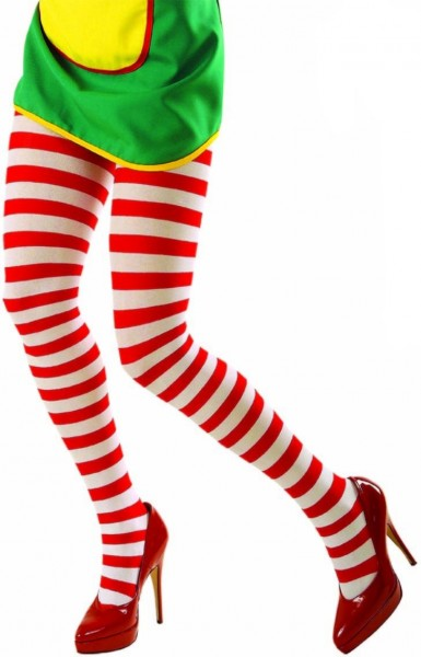 Striped tights white-red 70 DEN