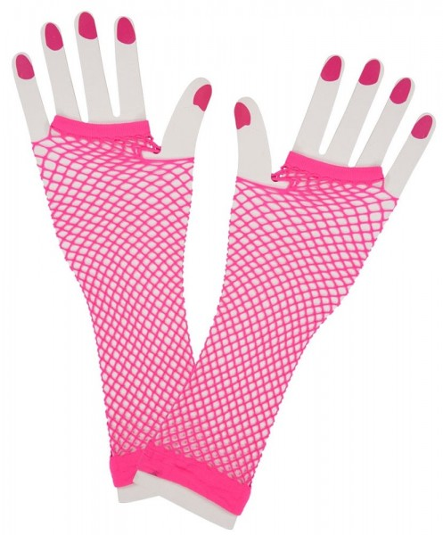 Neon fishnet gloves pink