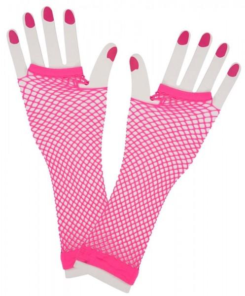 Neon Netzhandschuhe pink