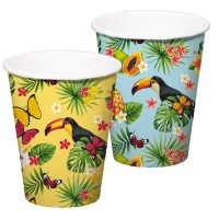 8 Tukan Hawaiiparty Pappbecher 350ml