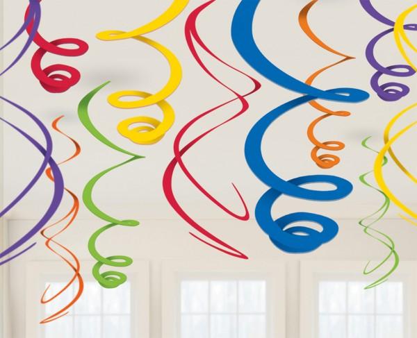 12 Spiral Streamers Colourful Fiesta 55cm
